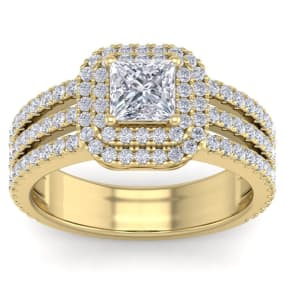 2 Carat Princess Shape Double Halo Diamond Engagement Ring In 2.4 Karat Yellow Gold™