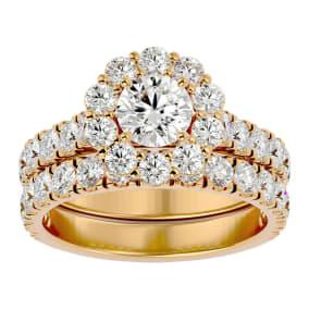 3 Carat Halo Diamond Bridal Set In 14 Karat Yellow Gold