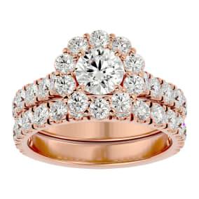 3 Carat Halo Diamond Bridal Set In 14 Karat Rose Gold