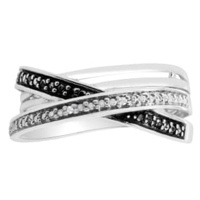 Black and White 8 Diamond Crossover Ring In Solid Sterling Silver.  Beautiful Ring, Amazing Price!