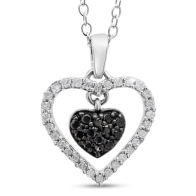 1/2 Carat Black and White Diamond Pave Heart Necklace In Sterling Silver, 18 Inches. Beautiful Necklace At An Amazing Low Price!