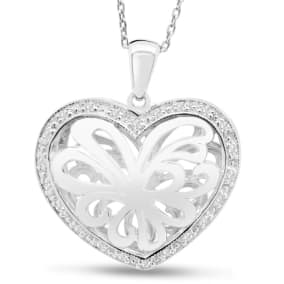 1/10 Carat Diamond Heart Locket Necklace In Sterling Silver, 18 Inches.  Beautifully Made Wonderful Diamond Heart Locket!