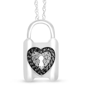 0.63 Carat Black and White Diamond Heart Lock Necklace In Sterling Silver, 18 Inches.  Beautifully Made Fine Jeweler Necklace
