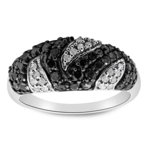 1 Carat Black and White Diamond Intricate Ring In Sterling Silver. Really Amazing Ring At An Incredibly Price!