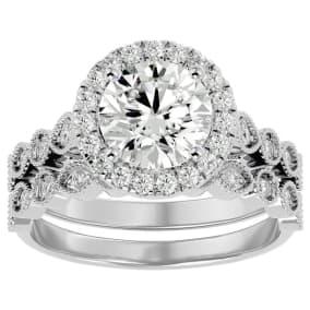 2 1/2 Carat Halo Diamond Bridal Set In 14 Karat White Gold