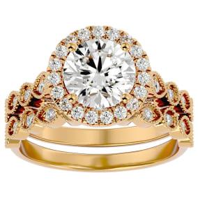 2 1/2 Carat Halo Diamond Bridal Set In 14 Karat Yellow Gold