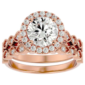 2 1/2 Carat Halo Diamond Bridal Set In 14 Karat Rose Gold