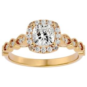 1 1/3 Carat Cushion Shape Diamond Engagement Ring In 14 Karat Yellow Gold