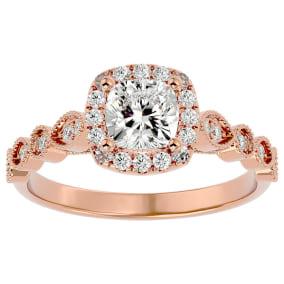 1 1/3 Carat Cushion Shape Diamond Engagement Ring In 14 Karat Rose Gold