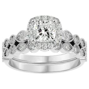1 1/2 Carat Cushion Shape Diamond Bridal Set In 14 Karat White Gold