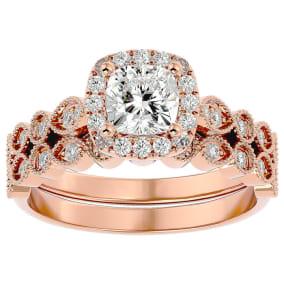 1 1/2 Carat Cushion Shape Diamond Bridal Set In 14 Karat Rose Gold