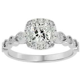 1 1/3 Carat Cushion Shape Diamond Engagement Ring In 14 Karat White Gold