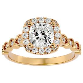 1 3/4 Carat Cushion Shape Diamond Engagement Ring In 14 Karat Yellow Gold