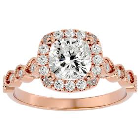 1 3/4 Carat Cushion Shape Diamond Engagement Ring In 14 Karat Rose Gold