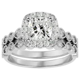 2 Carat Cushion Shape Diamond Bridal Set In 14 Karat White Gold