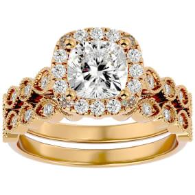 2 Carat Cushion Shape Diamond Bridal Set In 14 Karat Yellow Gold