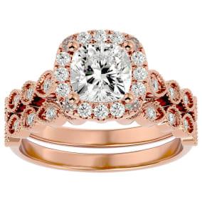 2 Carat Cushion Shape Diamond Bridal Set In 14 Karat Rose Gold