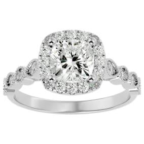 1 3/4 Carat Cushion Shape Diamond Engagement Ring In 14 Karat White Gold