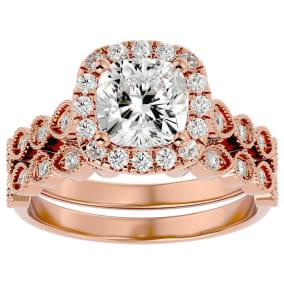 2 1/2 Carat Cushion Shape Moissanite Bridal Set In 14 Karat Rose Gold