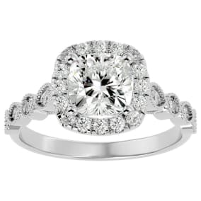 2 1/2 Carat Cushion Shape Diamond Engagement Ring In 14 Karat White Gold
