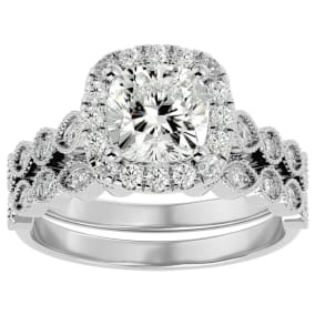 2 1/2 Carat Cushion Shape Diamond Bridal Set In 14 Karat White Gold