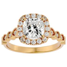 2 1/2 Carat Cushion Shape Diamond Engagement Ring In 14 Karat Yellow Gold
