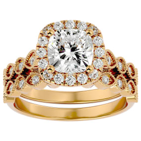 2 1/2 Carat Cushion Shape Diamond Bridal Set In 14 Karat Yellow Gold