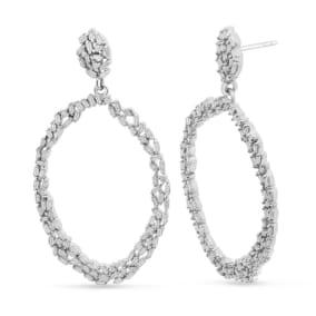 2 Carat Baguette Diamond Drop Earrings In Sterling Silver, 2 Inches