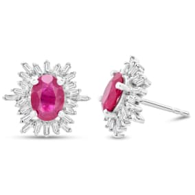 2 1/2 Carat Ruby and Baguette Diamond Stud Earrings In Sterling Silver