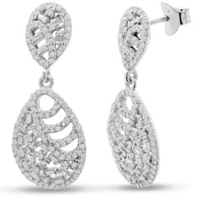 2 1/2 Carat Baguette Diamond Drop Earrings In Sterling Silver, 1 1/2 Inches