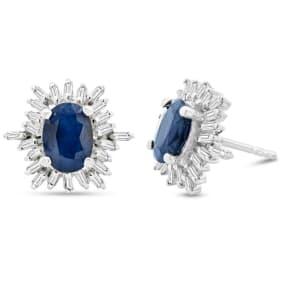 2 1/2 Carat Sapphire and Baguette Diamond Stud Earrings In Sterling Silver