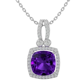 3 Carat Cushion Cut Amethyst and Halo Diamond Necklace In 14 Karat White Gold, 18 Inches