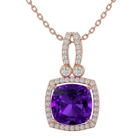 3 Carat Cushion Cut Amethyst and Halo Diamond Necklace In 14 Karat Rose Gold, 18 Inches