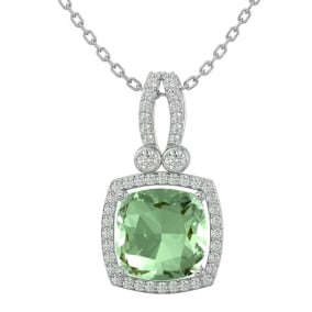 3 Carat Cushion Cut Green Amethyst and Halo Diamond Necklace In 14 Karat White Gold, 18 Inches