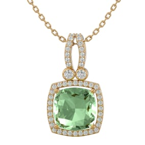 3 Carat Cushion Cut Green Amethyst and Halo Diamond Necklace In 14 Karat Yellow Gold, 18 Inches
