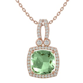 3 Carat Cushion Cut Green Amethyst and Halo Diamond Necklace In 14 Karat Rose Gold, 18 Inches