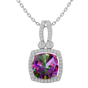 3 3/4 Carat Cushion Cut Mystic Topaz and Halo Diamond Necklace In 14 Karat White Gold, 18 Inches