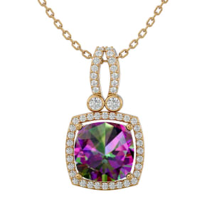 3 3/4 Carat Cushion Cut Mystic Topaz and Halo Diamond Necklace In 14 Karat Yellow Gold, 18 Inches