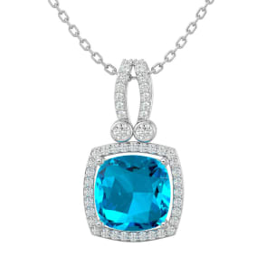 3 3/4 Carat Cushion Cut Blue Topaz and Halo Diamond Necklace In 14 Karat White Gold, 18 Inches