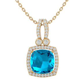 3 3/4 Carat Cushion Cut Blue Topaz and Halo Diamond Necklace In 14 Karat Yellow Gold, 18 Inches