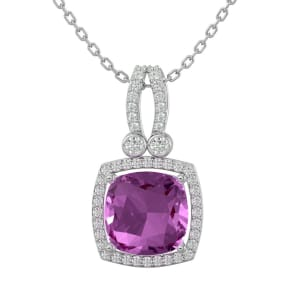 3 3/4 Carat Cushion Cut Pink Topaz and Halo Diamond Necklace In 14 Karat White Gold, 18 Inches