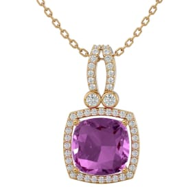 3 3/4 Carat Cushion Cut Pink Topaz and Halo Diamond Necklace In 14 Karat Yellow Gold, 18 Inches