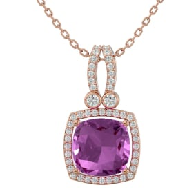 3 3/4 Carat Cushion Cut Pink Topaz and Halo Diamond Necklace In 14 Karat Rose Gold, 18 Inches
