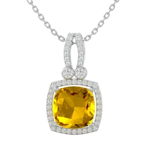 3 Carat Cushion Cut Citrine and Halo Diamond Necklace In 14 Karat White Gold, 18 Inches
