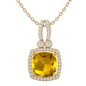3 Carat Cushion Cut Citrine and Halo Diamond Necklace In 14 Karat Yellow Gold, 18 Inches