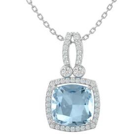 3 Carat Cushion Cut Aquamarine and Halo Diamond Necklace In 14 Karat White Gold, 18 Inches