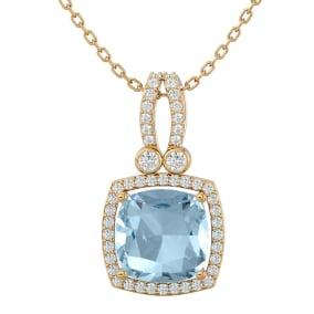 3 Carat Cushion Cut Aquamarine and Halo Diamond Necklace In 14 Karat Yellow Gold, 18 Inches
