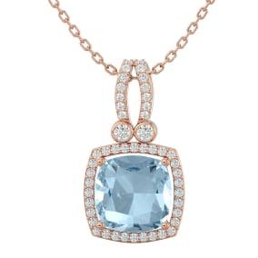 3 Carat Cushion Cut Aquamarine and Halo Diamond Necklace In 14 Karat Rose Gold, 18 Inches