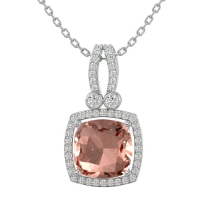 3 1/3 Carat Cushion Cut Morganite and Halo Diamond Necklace In 14 Karat White Gold, 18 Inches