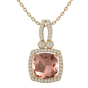 3 1/3 Carat Cushion Cut Morganite and Halo Diamond Necklace In 14 Karat Yellow Gold, 18 Inches